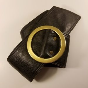 Kristin Kahle   wide leather reversible gold buckl
